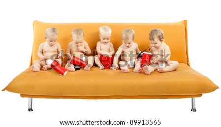 Children Group watch Cinema eating Popcorn, Kids on White - stock photo
