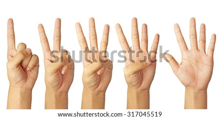 children hand counting number one to five isolated on white background