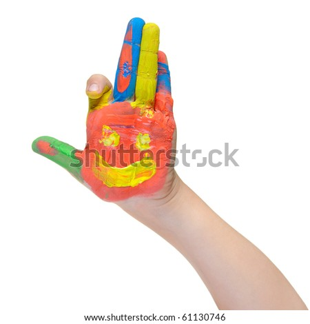 Children hand in paint. Isolated on white background - stock photo