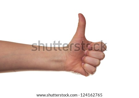 children hand making sign ok. Isolated on white background - stock photo