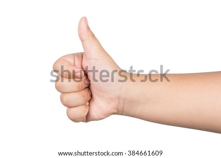 children hand with thumb up isolated on white background