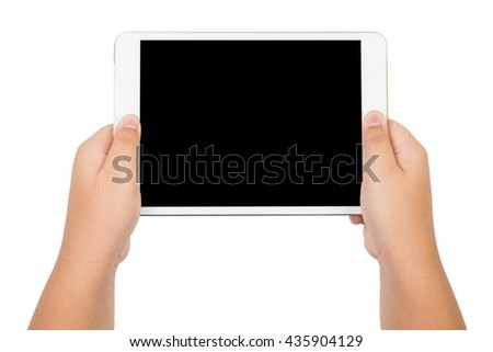 children hands holding a tablet touch computer with black screen, isolated on white background