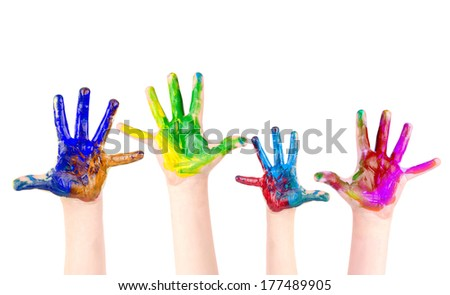 children hands painted isolated in white - stock photo