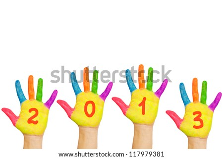 Children hands with numerals on the palms forming number 2013. Painted colorful paints. Isolated on white background. The symbol of the new year - stock photo