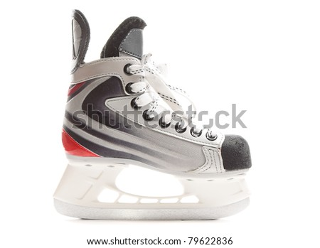 Children hockey skate isolated over pure white background - stock photo