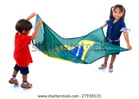 Children Holding a brazilian Flag on white background - stock photo