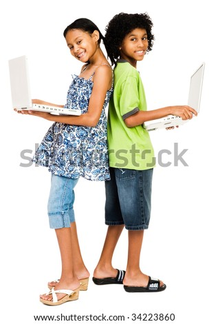 Children holding laptops and smiling isolated over white