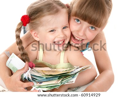 Children holding pile of money. Isolated. - stock photo