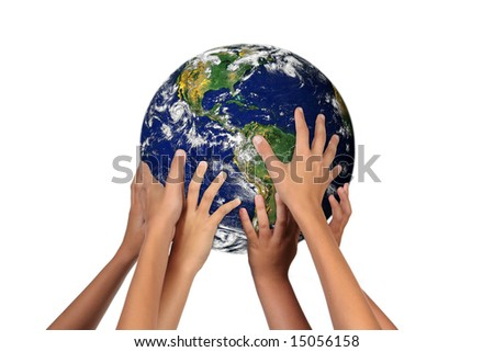 Children Holding the Earth: The Future is in Their Hands - stock photo