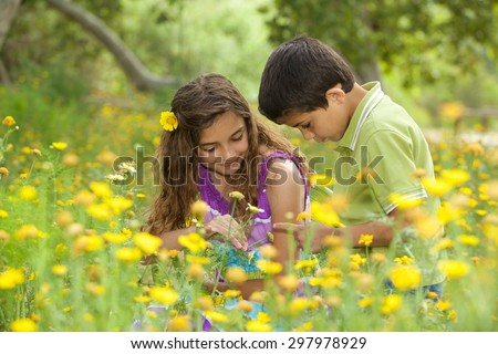 Children in a flower field looking at a bug on the boy's hand