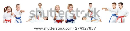 Children in a kimono and with different belts do methods of karate - stock photo