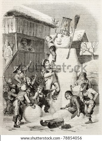 Children in Brienz village (Switzerland) making very big snow man and playing with it. Created by Girardet (sculp. Best, Hotelin and Regnier), published on Magasin Pittoresque, Paris, 1850 - stock photo