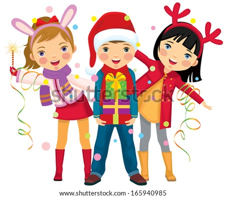 Children in carnival costumes Christmas/Childrens Christmas party a surprise/Children make merry at Christmas party - stock photo