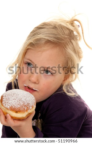 Children in carnival with donuts. Faschingskrapfen