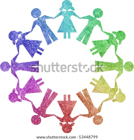 Children in circle shapes - stock photo
