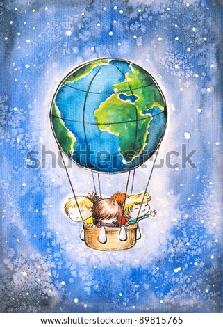 Children in Earth as balloon flying in space.Picture I have created with watercolors. - stock photo