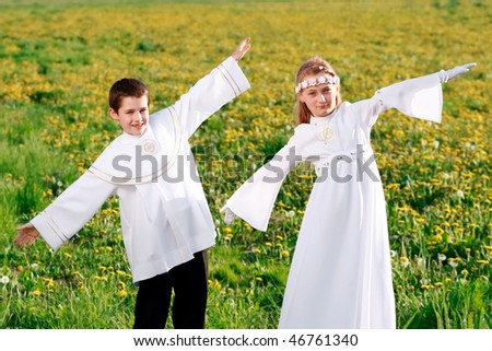 children in first holy communion, clear conscience - stock photo