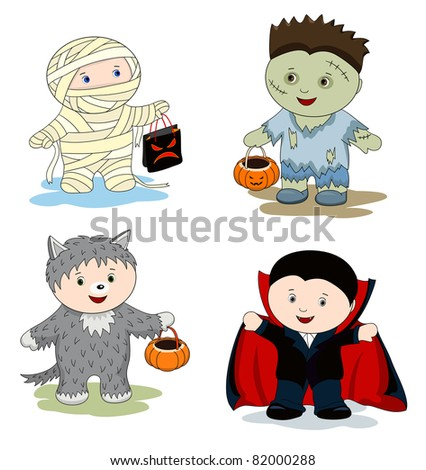 Children in masks - zombie, mummy, werewolf and vampire - stock photo