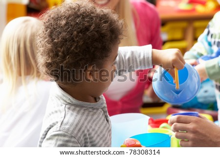 Children in nursery - stock photo