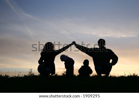 children in parents house on sky - stock photo