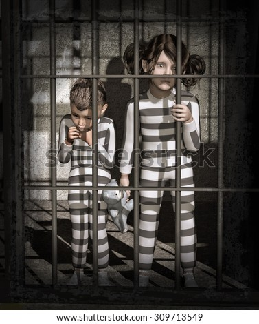 Children in prison - 3d render with digital painting. When a parent goes to prison, their children serve a sentence, too. - stock photo