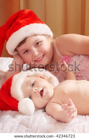 children in red hats - stock photo