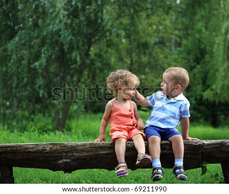 Children in summer park - stock photo
