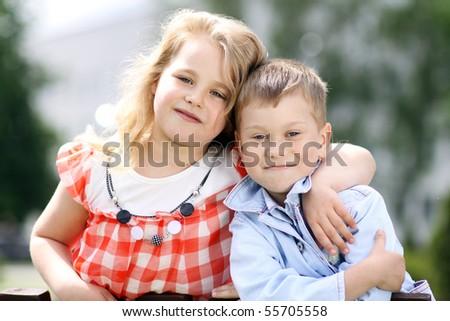 children in the summer park - stock photo