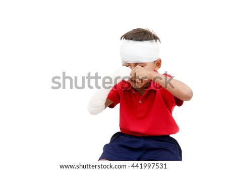 Children injured has crying and showing his broken arm and bandaged at head,a boy is acting for patient. - stock photo