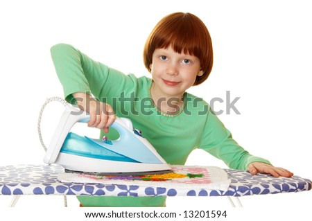 Children iron linen - stock photo