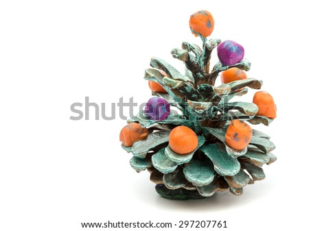 Children, job shishka and decoration of plasticine, isolated on a white background - stock photo