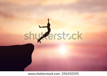 Children jump from a cliff