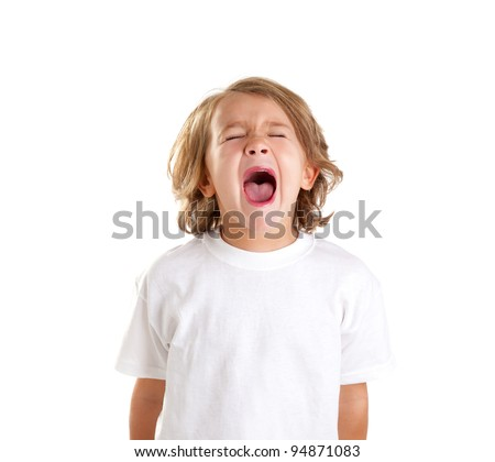 children kid screaming expression on white background - stock photo