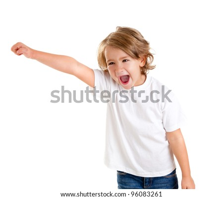 children kid screaming with happy expression hand up isolated on white