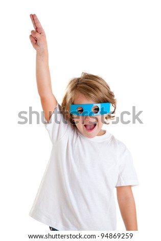 children kid with futuristic funny blue glasses happy on white background - stock photo