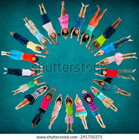 Children Kids Cheerful Childhood Diversity Concept - stock photo