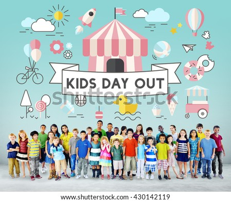 Children Kids Energetic Youth Playful Concept - stock photo