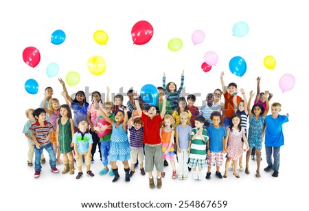 Children Kids Playing Celebration Happiness Cheerful Concept - stock photo