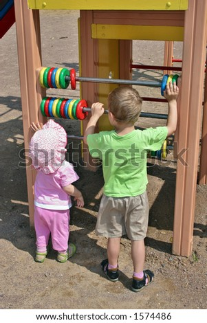 children learning count - stock photo