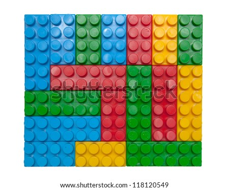 Children lego brick toy background - stock photo
