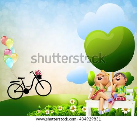 Children living open grasslands, bicycles, balloons. - stock photo