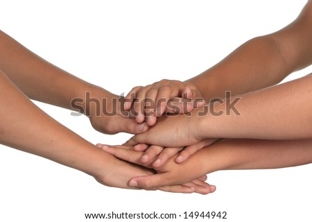 Children Making a Group Promise With Their Hands