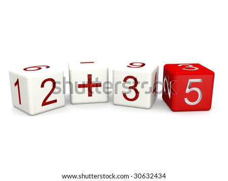Children mathematics class concept 3d numbers dice isolated - stock photo