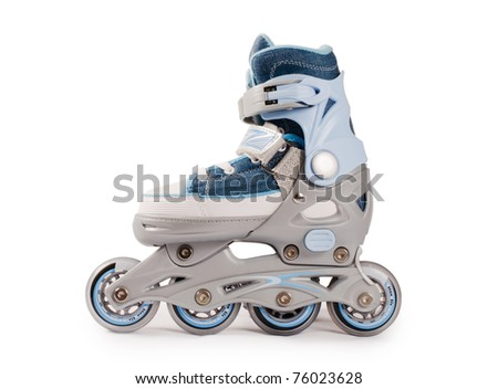 Children new rollers isolated on white background - stock photo