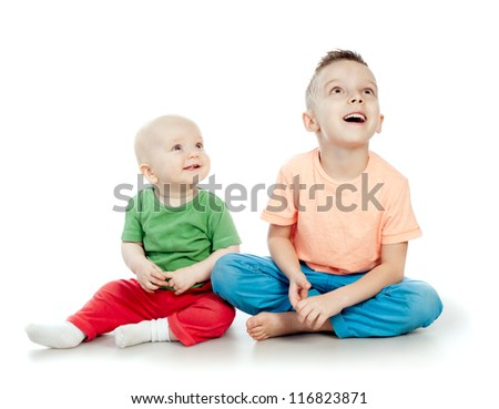 Children of all ages, the brothers - stock photo