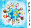 Children of different races hugging the planet Earth. I have created it myself with watercolors . - stock photo