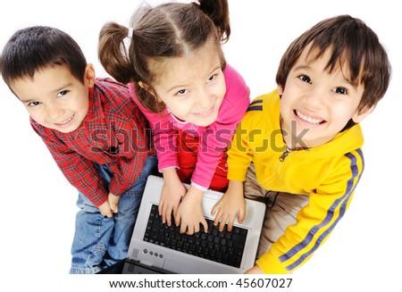 Children on laptop - stock photo