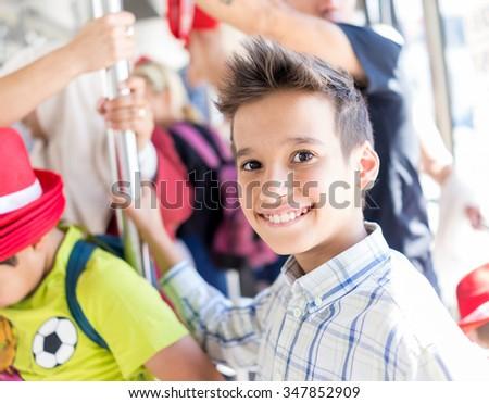 Children on travel - stock photo