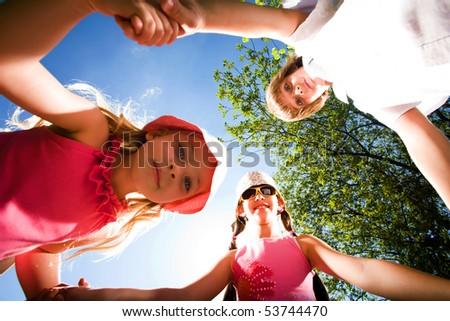 Children on walk - stock photo