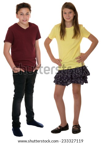 Children or young teenagers full body portrait isolated on a white background